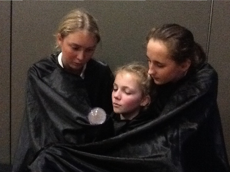 "Ella, Frances and Caitlin (Baradene)  In rehearsal of ""The Wyrd Sisters "" (Terry Pratchet)"
